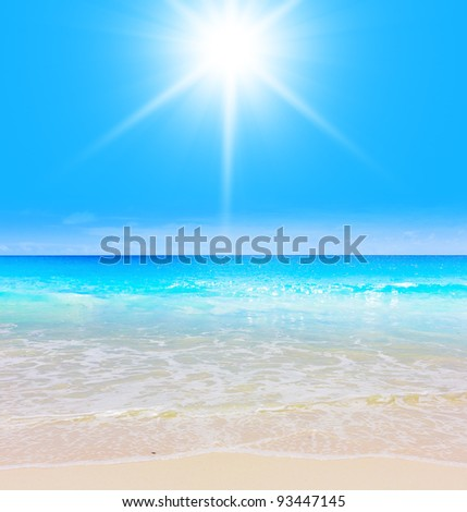 Sun is Shining Waves in Paradise - stock photo