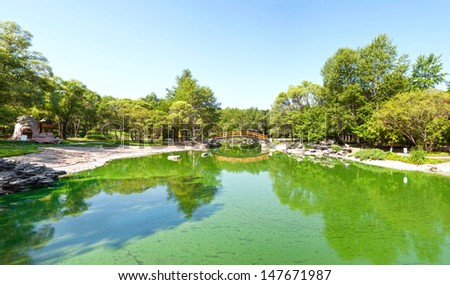 Sun Island Park, located in Harbin City, Heilongjiang Province, China. - stock photo