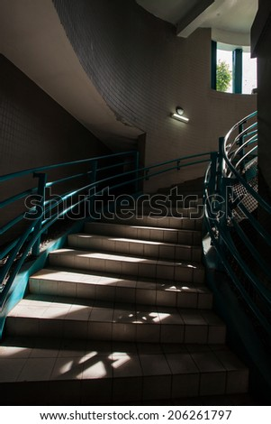 sun light through the stairway - stock photo