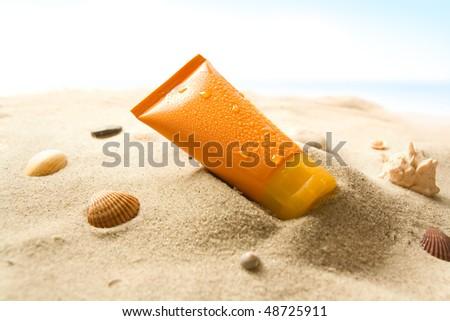 Sun lotion - stock photo