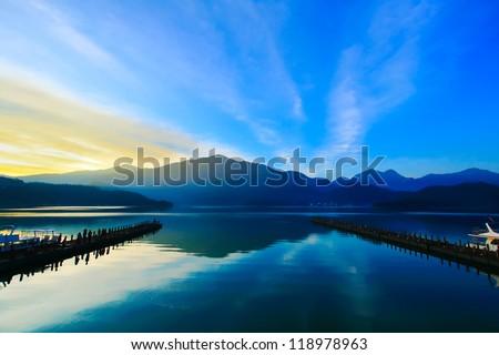 Sun Moon Lake Dawn - stock photo