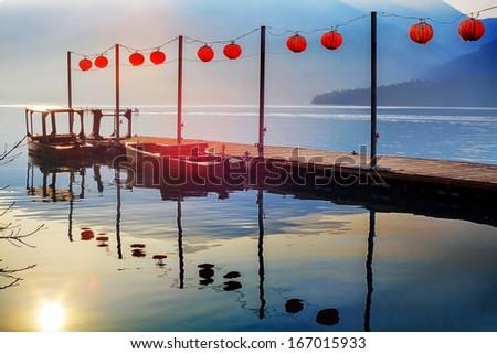 Sun Moon Lake landscape in Taiwan  - stock photo