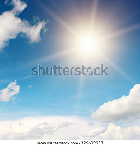 sun on beautiful blue sky - stock photo
