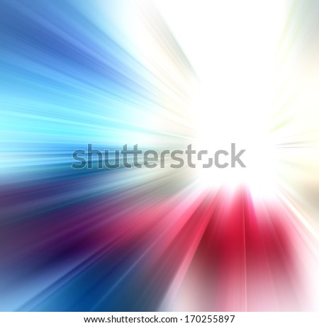 sun on blue, red, green and beiege background - stock photo