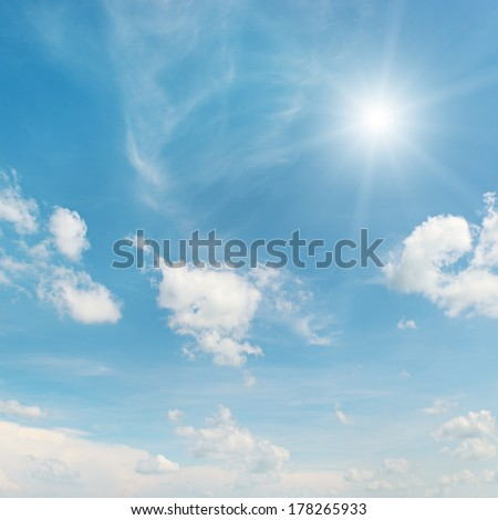 sun on blue sky                                     - stock photo