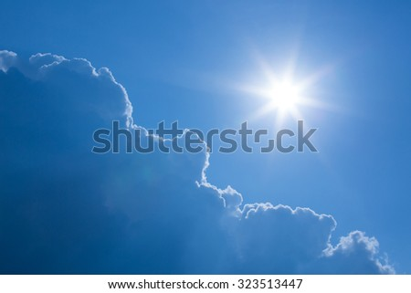 sun on clear blue sky with cloud, summertime background - stock photo