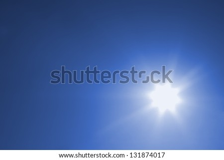 Sun on cloudless sky - stock photo