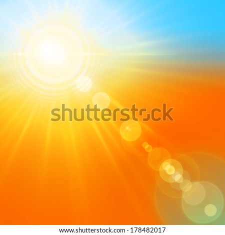 sun orange and yellow rays background - stock photo