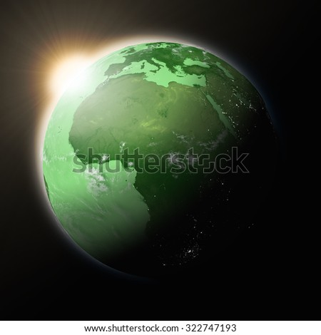 Sun over Africa on green planet Earth isolated on black background. Highly detailed planet surface. Elements of this image furnished by NASA. - stock photo