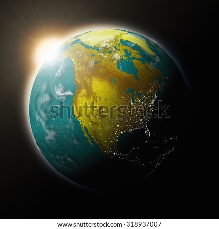 Sun over North America on blue planet Earth isolated on black background. Highly detailed planet surface. Elements of this image furnished by NASA. - stock photo