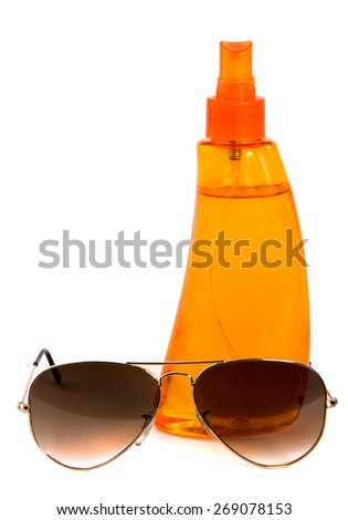 Sun protection oil, hat and sungrasses aviatiors isolated on white background - stock photo