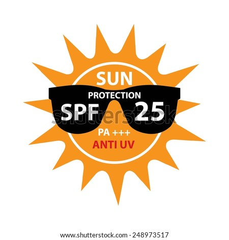 Sun Protection With Anti-UV, SPF 25 PA+++ On Sun And Black Sunglasses Icon Isolated On White background. - stock photo