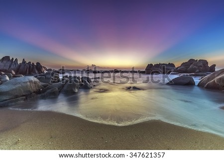 Sun ray beautiful moment is before sunrise  - stock photo