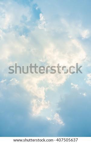 Sun rays in the sky. - stock photo