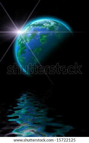 sun rise and planet illustration with reflections - stock photo
