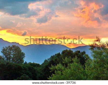 Sun Rise in Sandia Mountains, New Mexico - stock photo