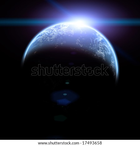 sun rise in space illustration isolated on black - stock photo
