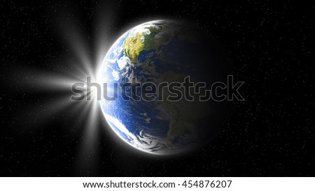 sun rise, view of earth from space - stock photo