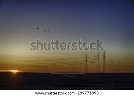 Sun rising over a horizon with powerline towers  - stock photo