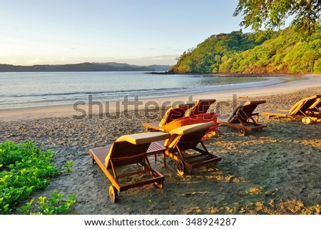 Sun rising over the Playa Blanca beach in Peninsula Papagayo in Guanacaste, Costa Rica - stock photo