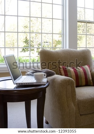 sun room corner interior - stock photo