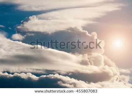 Sun's rays through the clouds  - stock photo