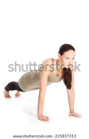 Sun Salutation Yoga poses in front of white background - stock photo