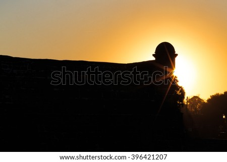 Sun sets over Spanish fort in St Augustine - stock photo