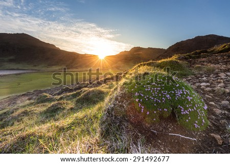 Sun setting behind mountains lighting up some fields and meadows in early summer in the arctic - stock photo