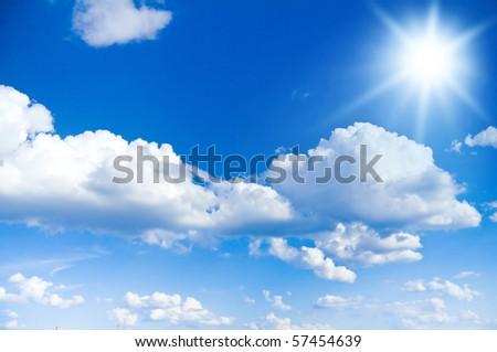 Sun Shining Bright In The Skies - stock photo