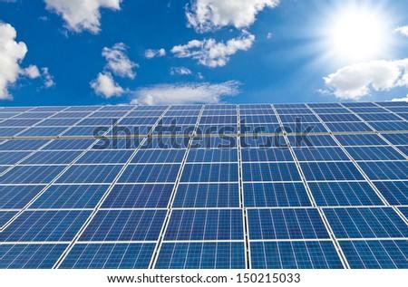 Sun, sky and solar cells  - stock photo