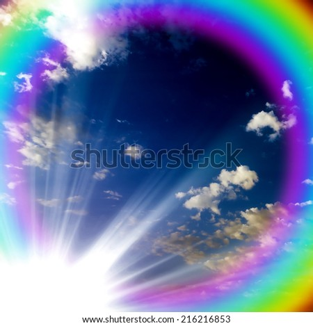 sun sky blue on a sunny rainbow - stock photo