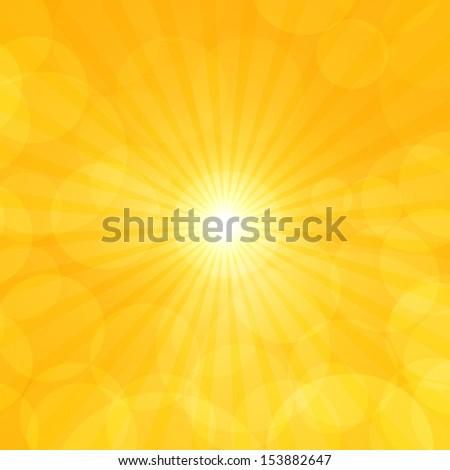 sun, sky orange background ray glows - stock photo