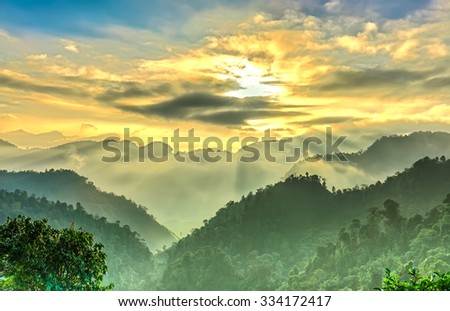 Sun star close on port morning sun rays Suoi Giang with rays shining down valleys and shimmering beautifully. Nature Vietnam truly majestic - stock photo