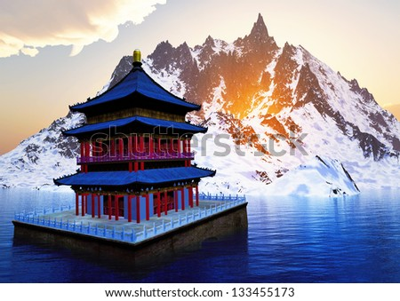 Sun temple - Buddhist shrine in the Himalayas - stock photo