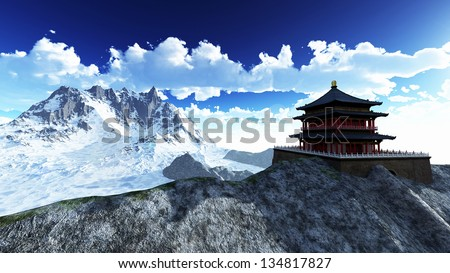 Sun temple - Buddhist shrine in the Himalayas - stock photo