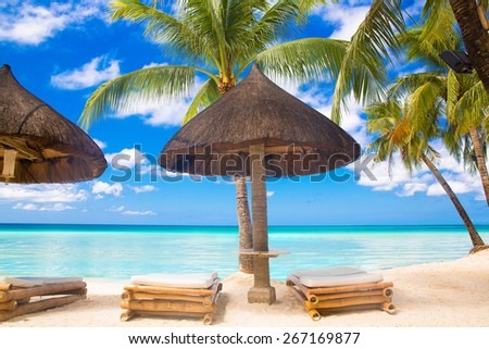 Sun umbrella and beach beds under the palm trees on tropical beach. Summer vacantion concept. - stock photo