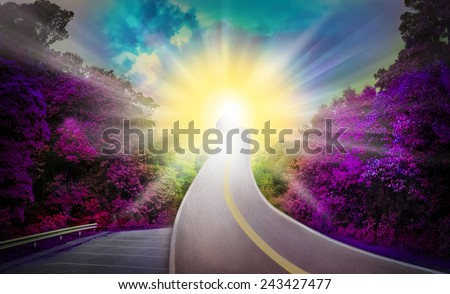 Sun Way heaven Violet Blue amazing beautiful shining stars Full sun Way heaven blue and yellow amazing wonderfully beautiful shining stars color think for God,Exceed the actual - stock photo