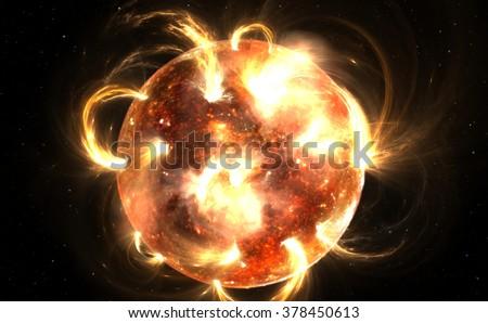 Sun with corona. Solar storm, solar flares - stock photo
