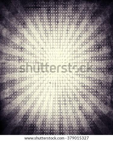 Sunbeams grunge vintage background, beautiful retro poster - stock photo