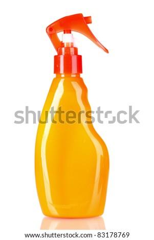 sunblock in bottle isolated on white - stock photo