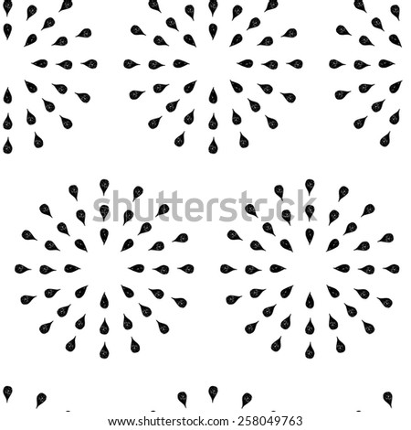Sunburst background, ink hand drawn pattern, seamless doodle background, vintage  pattern, abstract illustration - stock photo