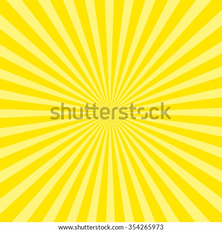 Sunburst pattern, sunrise background, yellow retro round lines - stock photo