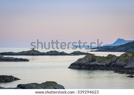 Sundown over Lofoten Islands in North Norway Norway - stock photo