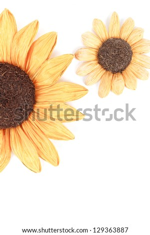 sunflower decoration on wooden table setting background - stock photo