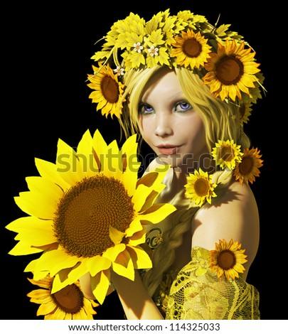 Sunflower Girl CA - stock photo