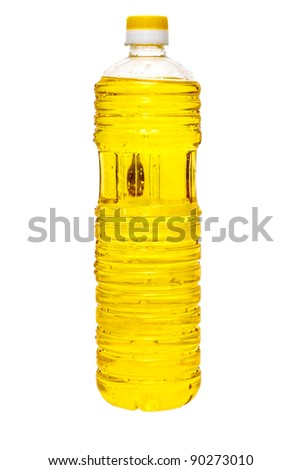 sunflower oil in a plastic bottle isolated on white background - stock photo