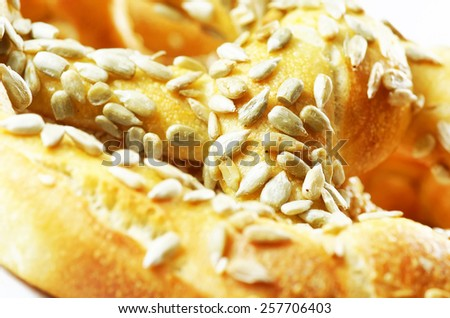 Sunflower seeds bagles on white background isolated. - stock photo