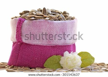 Sunflower seeds isolated on white background - stock photo