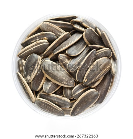 Sunflower seeds isolated on white background, Top view food - stock photo